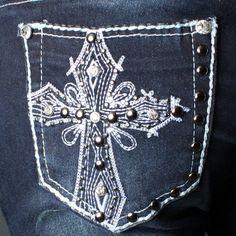 Casual Soft Womens Cross Studded Rhinestone Punk Dark Denim Wash Jean