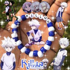 Diy Kandi Bracelets, Pony Bead Bracelets, Diy Friendship Bracelets Patterns, Bracelet Crafts, Cute Bracelets, Pony Beads, Anime Diys, Anime Crafts, Killua E Gon