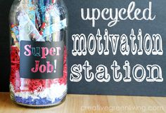 How to make a motivation station - perfect for a back to school teacher / classroom gift or for your homeschool! #valueseekersclub #ad #upcycled
