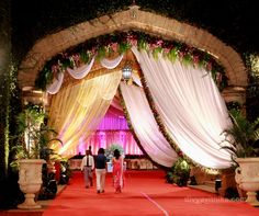 This is the wedding reception entrance for a wedding we did at The Bangalore Palace. #indianwedding #bangalorepalace #decor #weddingplanner