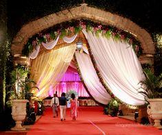 This is the wedding reception entrance for a wedding we did at The Bangalore Palace. #indianwedding #bangalorepalace #decor #weddingplanner