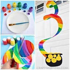 PAPER PLATE RAINBOW TWIRLER....this is such a fun craft idea for the kids to make...love it!!  http://www.craftymorning.com/end-of-the-rainbow-paper-plate-twirler-kids-craft/