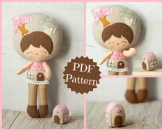 PDF. Little house doll.  Plush Doll Pattern, Softie Pattern, Soft felt Toy Pattern.. , via Etsy.