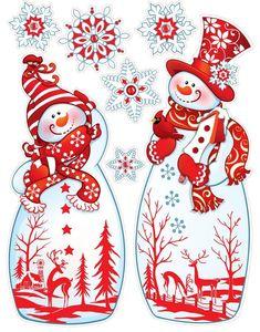 CHRISTMAS SNOWMEN AND SNOWFLAKES CLIP ART PRINTABLE: