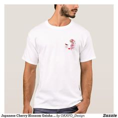 Shop Japanese Cherry Blossom Geisha Style T-shirt created by OKAYO_Design. Skate T Shirts, American Football Players, Shirt Template, Retro Humor, Retro Funny, Team Bride, Japan Fashion, Colorful Shirts, Fitness Models