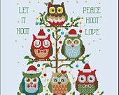 Hooties in Space Owls  Mini Collection Cross Stitch PDF Chart. $7.50, via Etsy.