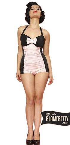 Beautiful Steady Black and Pink One Piece Halter Swimsuit Retro Vintage Pinup Pin Up Vintage, Vintage Mode, Retro Vintage, Vintage Style, Rockabilly Mode, Rockabilly Fashion, 50 Fashion, Retro Fashion, Vintage Fashion