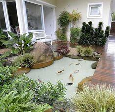 Fish Ponds Backyard, Backyard Patio, Backyard Landscaping, Backyard Ideas, Garden Ideas, Koi Fish Pond, Landscaping Ideas, Koi Ponds, Pond Ideas