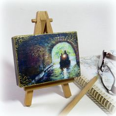 Narrowboat in Tunnel Aceo wood block, canal art. Rustic wood art, Aceo Hand Finished print, original miniature ACEO, Aceo waterways print by TheArtBoat on Etsy