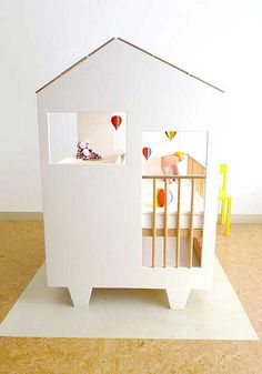 3 in 1 - crib, dresser and changing table, all in a cute house package! ♥ #nursery