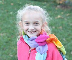 no sew fleece rainbow scarf, great homemade gift idea for kids