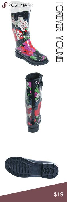 """Women Faux Fur Lined Tall Rainboots, 1528, Flowers Fixed price! Once worn glossy woman tall faux fur lined rainboots by Forever Young. Striking flower jacket design, super warm lining, removable sole. Posh buckle on the calf side. Approx 14"""" tall & approx 15"""" in circumference. 100% rubber rain boot!!! Taller than galoshes and protect your feet better while you garden or just walk in the fall or winter rain. Not made for wide calves. Run half a size larger than regular shoes. A true statement…"""