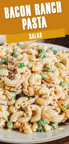 This creamy and cold pasta salad is a quick and easy side dish perfect for a picnic that can be made in under 30 minutes. With a unique flavor, Bacon Ranch Pasta Salad, made with peas, is a recipe you'll want to serve all summer long. Side Salad Recipes, Best Pasta Recipes, Summer Salad Recipes, Delicious Recipes, Healthy Recipes, Instant Pot Pasta Recipe, Easy Pasta Salad Recipe, Pasta Side Dishes, Side Dishes Easy