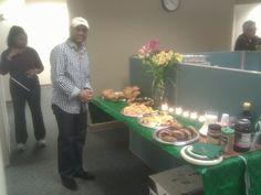 "Amman preparing the spread for ""The Breakfast Club!"""