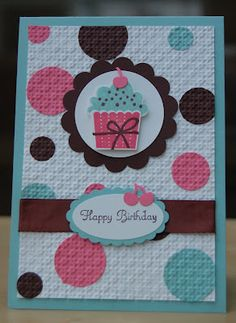 Stampin' Up! UK Independent Demonstrator - Julie Kettlewell: Stamp a Stacker Part 2 Cupcake Card, Kids Birthday Cards, Birthday Postcards, Embossed Cards, Paper Cards, Kids Cards, Cute Cards, Creative Cards, Scrapbook Cards