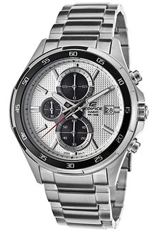 Casio EFR-531D-7AVUDF Watches,Men's Edifice Chronograph Silver Tone Textured Dial Stainless Steel, Casual Casio Quartz Watches