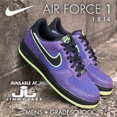 Available 1/8/14- Nike: Air Force 1 -  Court Purple/ Black- Volt (MN,GS)-  #Jimmyjazz #trendingnow #Nike #Airforce1 #AF1 #Purple #volt #IGSneakercommunity  Jimmyjazz.com