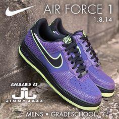 Available 1/8/14- Nike: Air Force 1 -  Court Purple/ Black- Volt (MN,GS)-  #Jimmyjazz #trendingnow #Nike #Airforce1 #AF1 #Purple #volt #IGSneakercommunity  Jimmyjazz.com