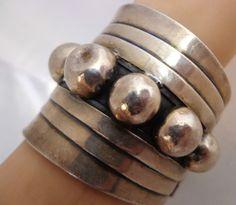 Vtg 71g Bold Modern Taxco Mexico Mexican Sterling Silver Clamper Cuff Bracelet   eBay