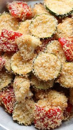 Parmesan Roasted Vegetables ~ These yummy vegetables are roasted in the oven with a coating of Italian dressing (tons of flavor!) and a panko/Parmesan mixture that is out-of-this-world. The coating gets super crispy, almost like the vegetables were fried, and the zesty Italian dressing soaks into the vegetables making them extra flavorful. This recipe is easy to make, cooks up quickly, and can be used with almost ANY vegetable you have on hand!