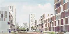 """Image 1 of 6 from gallery of PRÁCTICA and Daroca Arquitectos' Mixed Housing Complex to Develop Malaga's """"Green Block"""". Courtesy of PRÁCTICA and Daroca Arquitectos Urban Intervention, City Block, Social Housing, Innovation Design, Urban Design, Ecology, Sustainability, The Neighbourhood, Multi Story Building"""