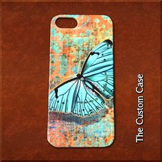 Vintage Steampunk Butterfly Phone Case in Turquoise and Copper by TheCustomCase