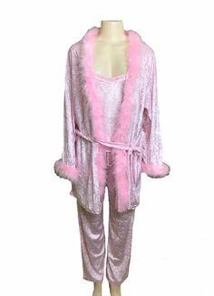 Charlotte Russe 3 Piece Pink Robe Camisole Pant Pajama Set Size Large  | eBay