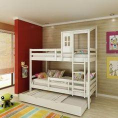 Beliche infantil Teen Play c/ Grades de Proteção, Telhadinho II, Mini Escada/escorregador - Casatema - CasaTema
