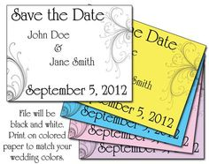 Printable Swirls Save the Date Cards. Save money by printing in black and white on colored card stock, and still coordinate with your wedding colors!