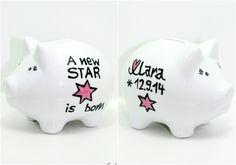 Sparschwein Babygeschenk als Taufgeschenk Mädchen von Lovely-Cups   auf DaWanda.com