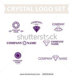 Vector diamond logo set. Jewellery logo collection. Rhinestone company.