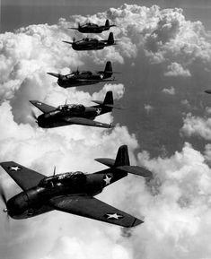 TBF (Avengers) flying in formation over Norfolk Va. Attributed to LT. Comdr. Horace Bristol, Sept 1942