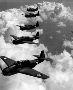 TBF (Avengers) flying in formation over Norfolk Va. Attributed to LT. Comdr. Horace Bristol, Sept 1942