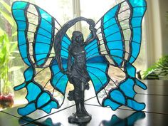 Stained glass Art Nouveau Fairy With Peacock Blue Wings by Unikke Glas