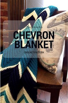 I am so excited about this Chevron Crochet Blanket pattern. If you can count to 14 and single crochet - you can make this Chevron Crochet Blanket Pattern Chevron Crochet Blanket Pattern, Striped Crochet Blanket, Crochet Ripple, Crotchet Patterns, Afghan Crochet Patterns, Knitting Patterns, Crochet Afghans, Ripple Afghan, Chevron Patterns