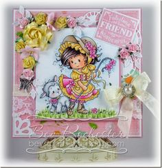 Whimsy stamps- Mary.   Flowers (cottage rose, lilies, open roses 10mm and 15mm), lace and and seam binding all from Wild Orchid Crafts.     bev-rochester-whimsy-wee-mary