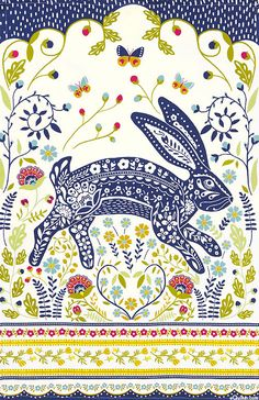 Ulster Weavers - Woodland Hare Cotton Tea Towel for sale online Easter Illustration, Rabbit Illustration, Scandinavian Folk Art, Rabbit Art, Tea Towels, Decoration, Art Projects, Vibrant Colors, Artsy