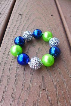 SEAHAWKS 12th Fan Inspired Blue & Green Gameday Bubblegum Bead Chunky Bracelet, Silver Bling (Adult Size, Regular)