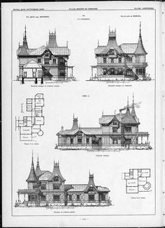 Villas, cottages and country houses / drawings of architectural monuments, buildings and objects - a visual history of architecture and styles (1000×1386)