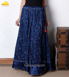 Indigo dyed block printed cotton kalidar skirt featuring mashru trimmings and hand made fabric tassels by Trees of Life on Indianroots.com
