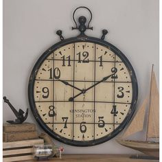 50 in. x 39 in. Classic Train Station Wall Clock In Distressed Black Iron