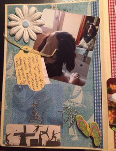 Zelfgemaakt album van enveloppen, eerste bladzijde. Hier maakt Beau kennis met.....