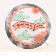 Cloudy Thank You Card by charimoss at @Studio_Calico - shaped card #SCofficehours