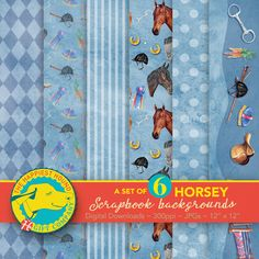 Digital horse paper pack, horse scrapbook backgrounds, pony paper, horse and pony patterns, digital scrapbook patterns, English saddle, horse heads, snaffle bit Horse Show Mom, Scrapbook Patterns, Scrapbook Background, English Saddle, Horse Portrait, Digital Scrapbook Paper, Horse Head, Hand Coloring, Craft Gifts