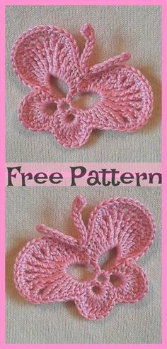 Pretty Crocheted Butterflies – Free Patterns Pretty Crocheted Butterflies – Free Patterns The post Pretty Crocheted Butterflies – Free Patterns appeared first on Decor Ideas.These Crocheted Butterflies will certainly brighten your household decorati Crochet Butterfly Free Pattern, Crochet Flower Patterns, Crochet Stitches Patterns, Crochet Designs, Crochet Flowers, Knitting Patterns, Crochet Ideas, Marque-pages Au Crochet, Crochet Patron