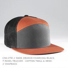 c58-CTM    7 Panel Trucker - Cotton Twill   Mesh    Custom Snapback.  Charcoal BlackSnapbackMeshCaps HatsSnapback HatsFishnetBaseball HatTulle 18c32cb41465