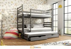 Lano Lit superposé séparable 3 couchages TOMI - Graphite - 80 cm x 180 cm Wooden Bunk Beds, Bunk Bed With Trundle, Pull Out Bed, Bunk Bed Designs, Bed Base, Under Bed Storage, Bed Plans, Foam Mattress, Solid Pine