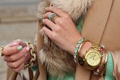 just divineee. camel with a julep green and lots of glam accessories. the peach in the nail plays well, too. And of course the fur (faux).