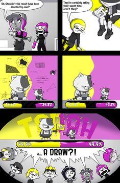 Sushi Showdowns - Page 15 by BanditofBandwidth on DeviantArt Splatoon Squid, Splatoon Memes, Nintendo Splatoon, Splatoon 2 Art, Splatoon Comics, Splat Tim, Callie And Marie, Animal Crossing Characters, Geek Games