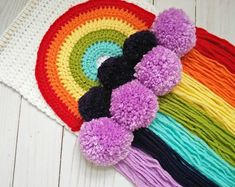 vintage rainbow colored wall hanging with pom poms Tassel Garland, Garlands, Rainbow Nursery, Crochet For Kids, Diy Kits, Wall Colors, Rainbow Colors, Gifts For Kids, Projects To Try
